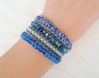Macrame Wrap Bracelet With Blue Leather and Silver Button Clasp - Shades of Blue