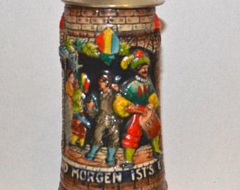 Vintage Musical German Lidded Beer Stein