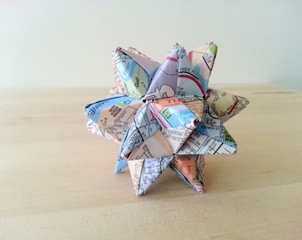 Small Decorative Origami Ball - Maps! || upcycled home decor, upcycled wall decor