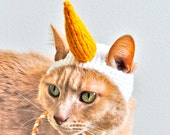 Unicorn Cat Costume - White and Gold - Hand Knit Cat Hat - Cat Halloween Costume (READY TO SHIP)
