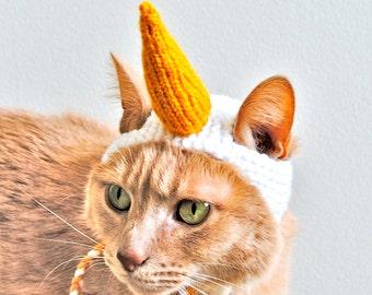 Unicorn Cat Costume - White and Gold - Hand Knit Cat Hat - Cat Halloween Costume