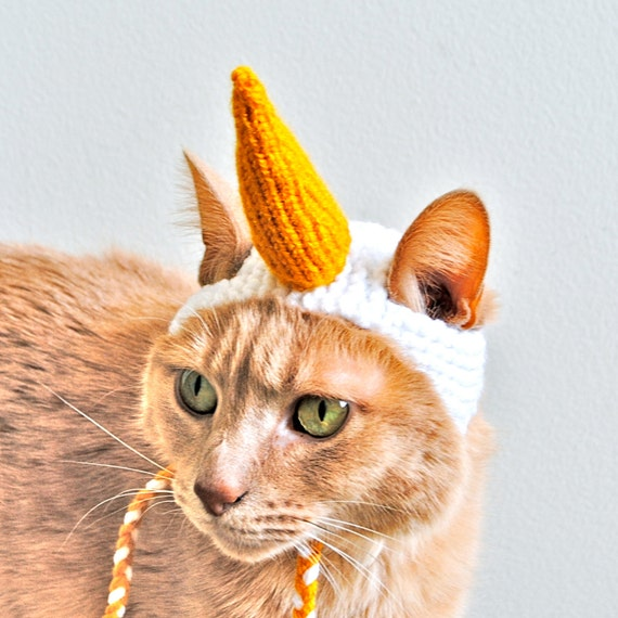 unicorn cat costume white and gold hand knit cat by bitchknits. Black Bedroom Furniture Sets. Home Design Ideas