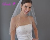 MIMI -- Rice Pearl and Silver Bead 1 Tier 30 Inch Elbow Veil in White, Diamond White, or Ivory Tulle, custom handmade bridal wedding veil