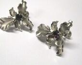 Vintage Bugbee & Niles Amethyst Rhinestone Orchid Matte Silver tone Non Pierced Earrings