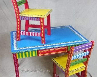 Childu0027s Table And Two Chairs Set  Custom Hand Painted Furniture Made To  Order