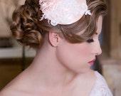 Blush bridal hat, lace fascinator, Mini Hat, Bridal Fascinator, Birdcage Veil, Garden Wedding hat, Pink Lace Bridal Hat, Wedding Hat