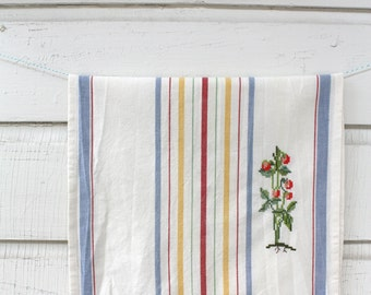Tomato Cross Stitch Tea Towel, Embroidery, Summer Garden Tea Towel, Kitchen Decor
