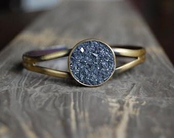 CRUSHED Druzy Crystal Cuff Bracele