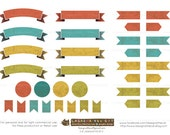 Digital Clipart - Vintage Set Ribbons Flags for Personal use for scrapbooking, cardmaking, party, blog background