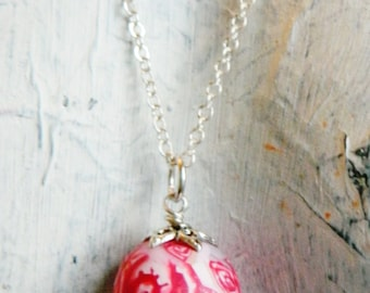 Fertility egg pendant red rose white shabby chic handmade very unique and pretty french style
