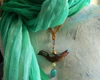 RUSTIC BIRD pendant handmade verdigris patina turqouise flower gold  blue carved leaf gemstone