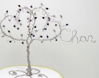 Double Heart Wedding Cake Topper Custom Personalized with Names in Wire