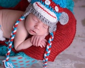 Baby Crochet Multi Color Sock Monkey HAT ONLY Halloween Costume - Treasured Little Creations
