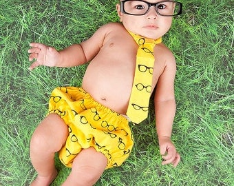 Diaper Cover and Tie Set Birthday Cake Smash Newborn Photo Prop Baby Boy Little Man Geeky Yellow Black Glasses Chic
