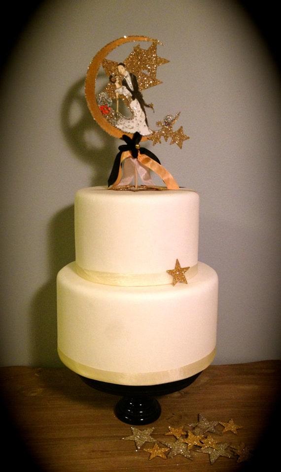 Art deco wedding cake topper portrait custom illustrated hand