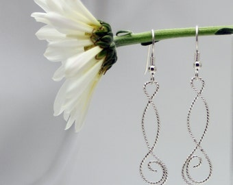 Sterling silver earrings, Rope twisted earrings, women, eco friendly, dangle, chandelier, piercing, ear, bridesmaid gift, gift, handmade
