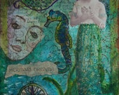 Mermaid Dreams ORIGINAL Mixed Media Fine Art by Tamyra Crossley. 5x7