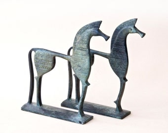 Bronze Geometric Horse, Ancient Greek Horse, Metal Art Sculpture, Bronze Sculpture, Museum Quality Art, Greek Art, Equine Decor, Collectible
