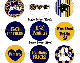 INSTANT DOWNLOAD Navy  Gold Panthers  2 School Mascot 1 inch circle Bottlecap Images