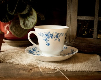 Vintage Blue Flower Tea Cup and Saucer