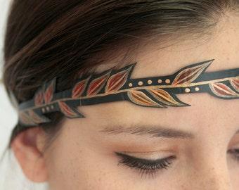 Womens Festival Headband, Hand Painted Faux-Leather Leaf Headband