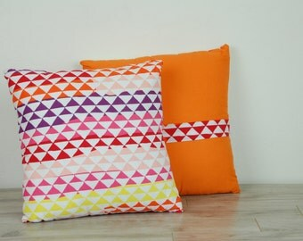 "Custom Made Geometric Rainbow 14"" Reversible Throw Pillow"