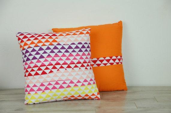 "Custom Made Geometric Rainbow 14"" Reversible Throw Pillow"