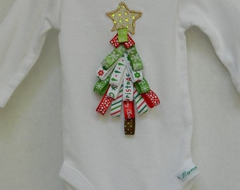 Christmas Infant Bodysuit - Ribbon Tree Design - Holiday Infant Clothes - Red and Green Baby T-Shirt - Baby Shower Gift - White Bodysuit Tee