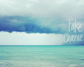 Beach Quote Wall Art | Blue Ocean Photography | Inspirational Art Print | Quote Photography Art | Beach Wall Art Print | Turquoise White Art