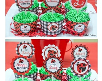 Ladybug Birthday Custom Party 2 Inch Party Circles + BONUS Theme 2 Inch Party Circles and Cupcake Wrappers