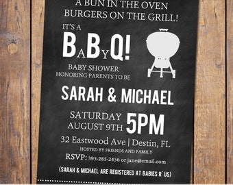BBQ Baby Shower invitation, baby q invitation with chalkboard background, typography, digital, printable file (item128)