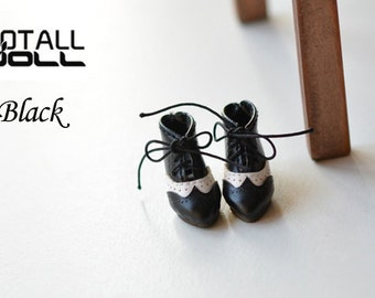 GOTALL doll handmade Vintage High Heels Short Boots for Blythe doll - doll shoes - Black