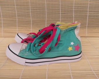 Vintage Pink And Green Textile Sneakers Size EUR 40 / US Woman 9