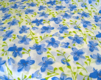"Vintage Fabric - Light Blue Flowers on White - 36""L x 44""W - 1960's - Retro Sewing Material - Craft Supply - Yardage"