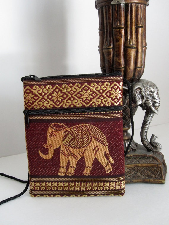 Laos/Thai Elephant Design Embroidered Purse with Strap - Classic Asian Elephant Bag - *Multiple Color Selections*