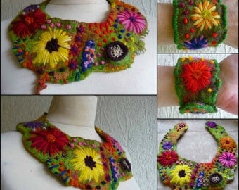 felted necklace, collar necklace, scarf, bracelet, cuff,  handmade, felt, merino wool, flowers, lagenlook, MADE TO ORDER , eco friendly