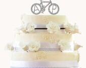 Personalized Glitter Wedding Cake Topper - Bicycle Monogram Initials Cake Topper - Unique Custom Bike Wedding Cake Topper - Peachwik - PT4