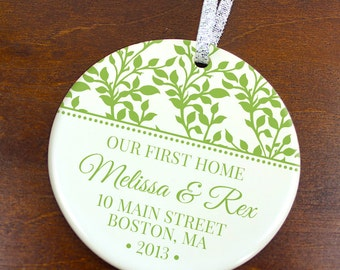 Our First Home Christmas Ornament - Floral Ivy Vines - Personalized Porcelain Housewarming Holiday Gift - orn210 - Peachwik - Custom Colors