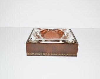 Vintage Ashtray Art Deco Style Ashtray Cigarette Ashtray Pipe Ashtray Gold Greek Keys Design Ashtray
