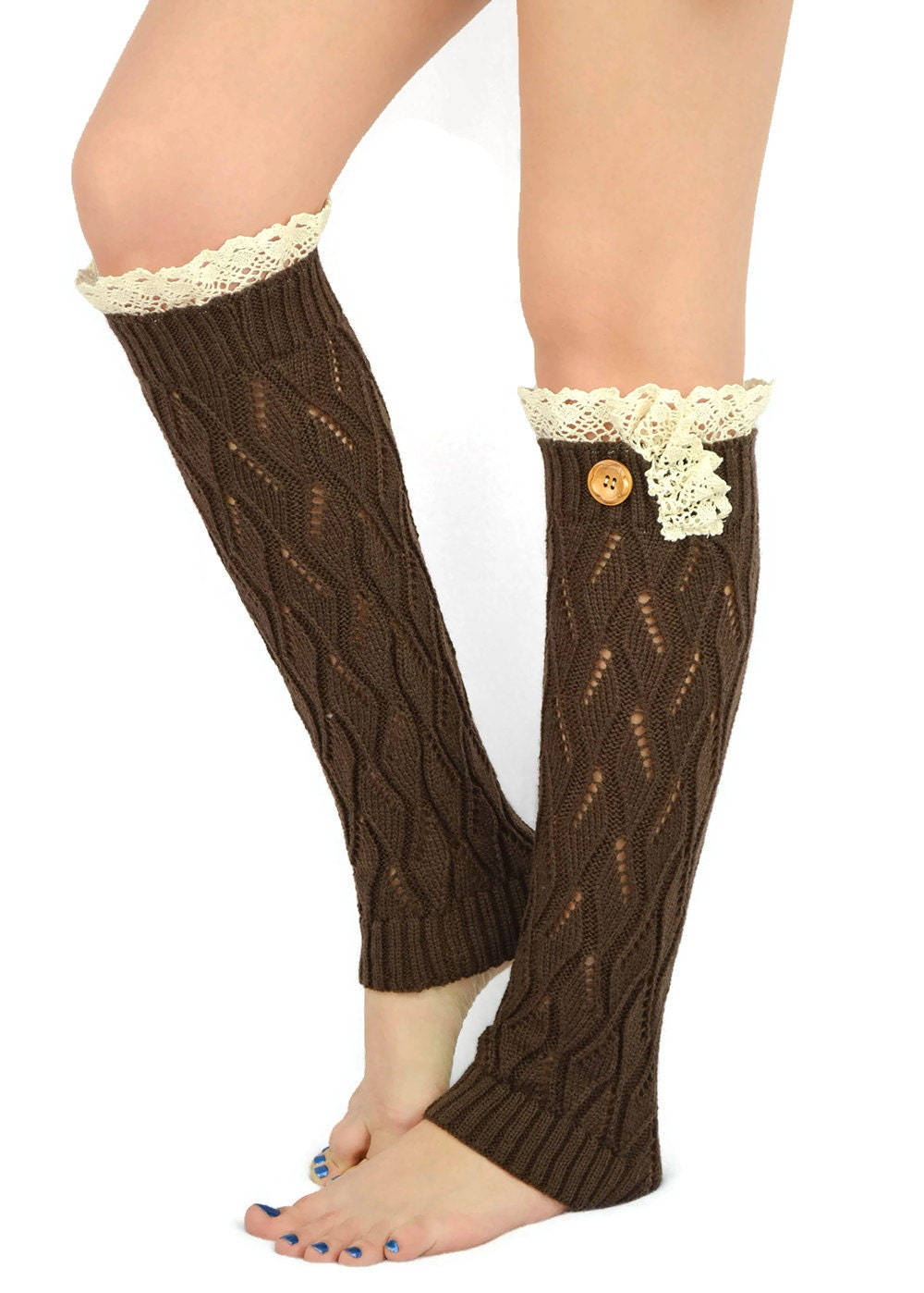 Knitted Boot Socks BROWN Legwarmers Lace Leg Warmers By JuicyBows
