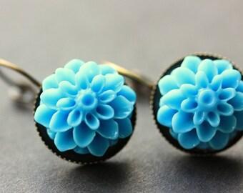 Baby Blue Dahlia Flower Earrings. French Hook Earrings. Baby Blue Flower Earrings. Lever Back Earrings. Handmade Jewelry.