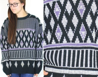 SALE Vintage Retro Aztec Tribal Dark Colored Geometric Patterned Boyfriend Sweater Medium