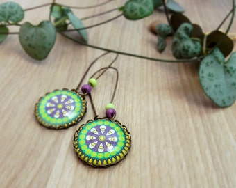 Mandala earrings, vintage earrings, healing earrings, photography earrings, colorful earrings, healing jewelry, heart earrings, zen earrings