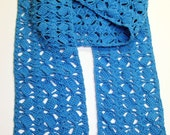 Crocheted long aqua scarf