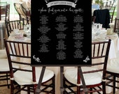 Printable Seating Chart -- Black and White Flowers Logo Banner Calligraphy -- Pomp