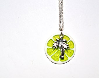 Palm Tree Necklace, Lime Slice Pendant, Tropical Jewelry, Lime Green Pendant, Citrus Green, Glitter Resin, Lime Necklace, Beach Jewelry