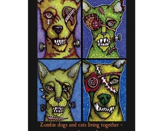 Greeting Card Zombie Cats and Dogs, Halloween or Anytime