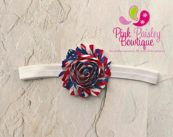 CLEARANCE Baby Headband- July 4th Headband - Infant headband - Newborn Headband - baby hair accessories - Baby Hair bows - Patriotic Bow