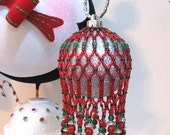 Red & Dark Emerald Christmas Ornament/Candle Cover