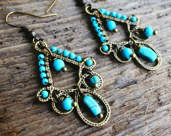 Exotic Chandelier Earrings - Bohemian Gypsy - Genuine Turquoise Beads